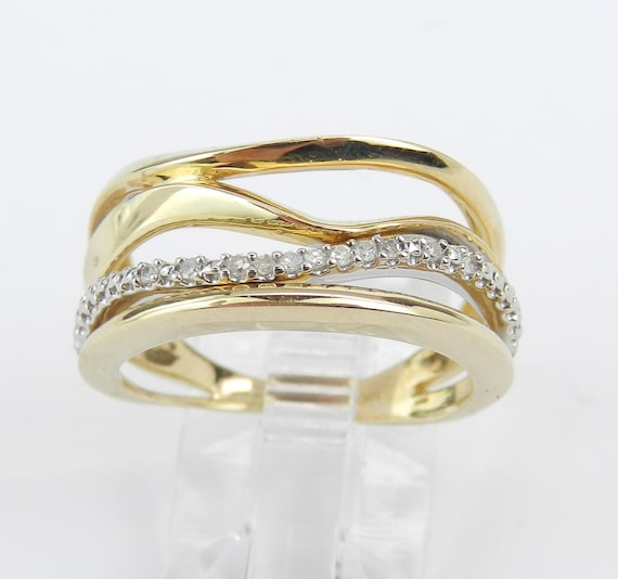 Yellow Gold Diamond Ring Multi Row Band Size 7 Modern Fashion Design