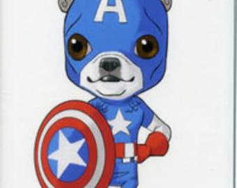 Boston terrier art, magnet, Captain America avengers - Boston Terrier magnet