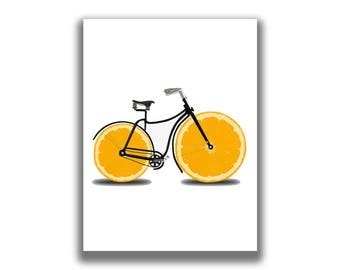 Bicycle Gifts, Bicycle Art, Bicycle Wall Art, Lemon Print, Food Printable, Bike Print, Vintage Retro Bicycles, Kitchen Art, Yellow Prints