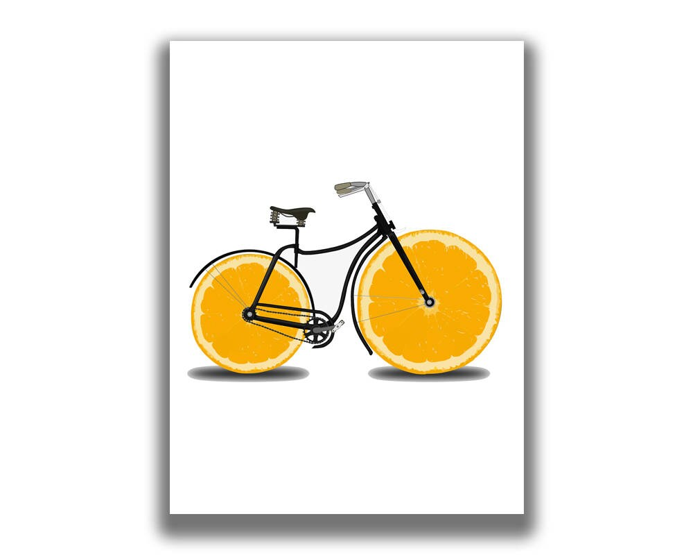 Bicycle Gifts Bicycle Art Bicycle Wall Art Lemon Print