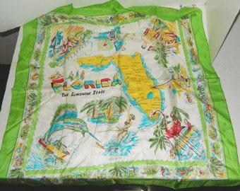 "33""x35""Huge Green Pre-Disney Vtg Silk Colorful Scarf/Tablecloth FL Souvenir NOS"