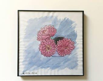 90/100: Zinnias - original framed watercolor illustration