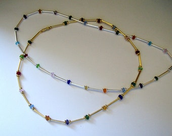 Jewel Toned Crystals , Silver/Gold Tube Beaded Necklace,