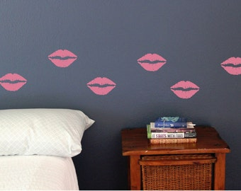 Lips Wall Decals, Set of 10, Kisses, Lipstick, girly, makeup