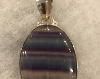 Rainbow Fluorite Sterling Silver Pendant