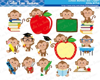 School Monkey Boy Clipart, Cute Back to School Monkey Boy Clipart