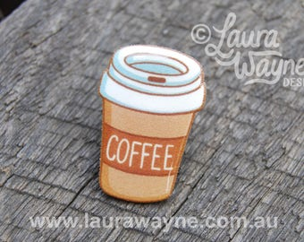 Coffee Lover Lapel Pin Badge Brooch Handmade / Jewellery / Jewelry / I Love Coffee / Latte / Cappuccino / Enemal Pin Style