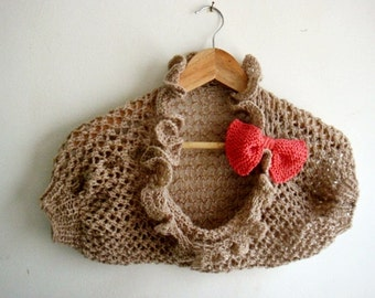 Knitting PATTERN Girl Shrug Knit Bolero Pattern Knitted Bow Shrug Pattern Shrug in 4 sizes 243