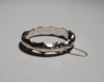 Etched Sterling Silver Bangle Bracelet