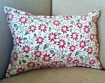 Poinsettia Print Pillow Cover ~ Christmas Pillow Cover ~ Holiday Pillow Cover