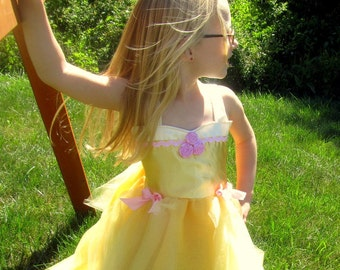 Beauty and the Beast Costume Dress: yellow and pink, Birthday, princess trip dinner, halloween, Belle tutu dress, adjustable, birthday party