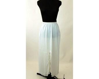Long half slip white nylon by Shadowline 1970s long slip slit in front Size S