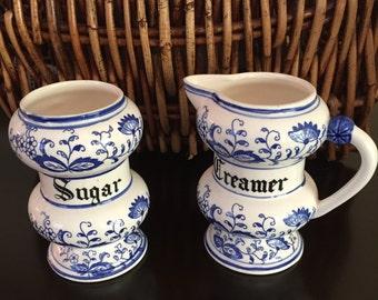 Vintage BLUE & WHITE Sugar Bowl and Creamer