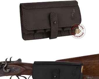 Leather Belt Cartridge Holder Handmade Shell Pouch Shotgun Rifle