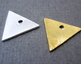11mm Triangle Charm Pendant Gold over Sterling Silver Triangle Stamping Blank -- 5 CHARMS (S67B6-14)