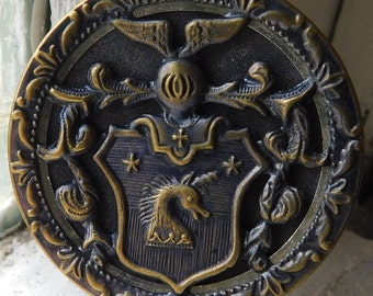 "Magnificent Large brass picture button | Heraldic animal button | Raised brass design | Twinkle rim | Unicorn | 1-1/2"""