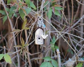 Birdhouse Necklace Pendant Silver Plated Vintage Knife Handle  Repurposed Flatware Silver Mist Marigold Pattern