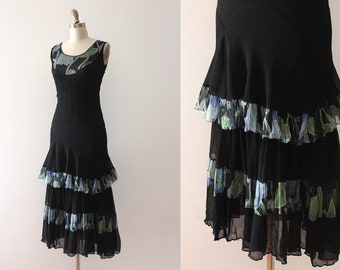 vintage 1930s dress // early 30s silk & floral print dress