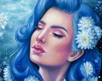 Blue Hair Portrait Painting ACEO Giclee Print by Emily Luella