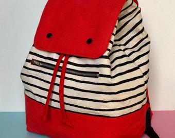 Screen printed Canvas Backpack, Striped pattern Blue Colour Block  Rucksack, Large Backpack, Handmade Backpack, Lottie