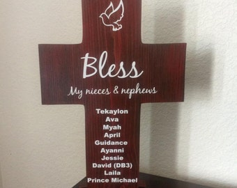 Cross Large with stand set - Nieces & Nephews Solid Wood Personalized Names with Dove for Aunt Uncle gift for Sister Brother