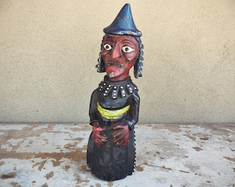 Vintage Painted Hand Carved Wood Statue Witch or Wizard, Latin American Folk Art Outsider Art