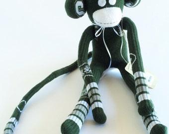 New York Jets - Sock Monkey - NFL - National Football League - Green Sock Monkey - Football Sock Monkey - Football Plush - Football Doll
