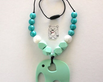 Mint elephant silicone necklace