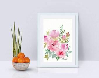 Pink Watercolor Flowers, original watercolor painting, floral art, floral decor, pink watercolor, wedding flowers, watercolor wall art, 5x7