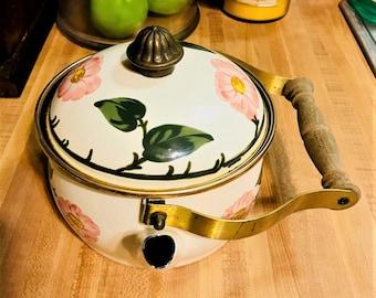 Villeroy and Boch Enamel Metal & Brass Teapot Made In Germany