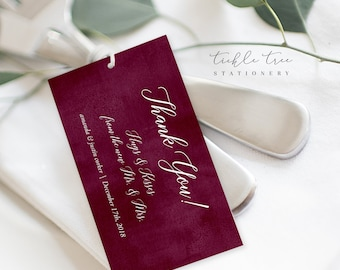 Favour Tags - Burgundy & Blush (Style 13853)