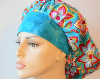 Scrub Hats Modern Flor De Star Medallions in Shades of Turquoise Womens Bouffant with Turquoise Muted Matching Headband USA
