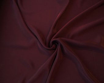 CLEARANCE - 40% OFF - 4-ply Silk Crepe Fabric by the Yard- Blackberry Wine  // Aubergine SIlk Crepe
