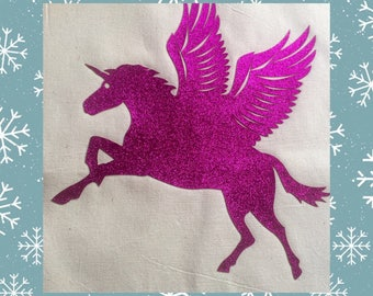 Gift for Unicorn lover ,Tote bag. Pink Glitter bag, reusable cotton bag , Unique Gift, Made in England