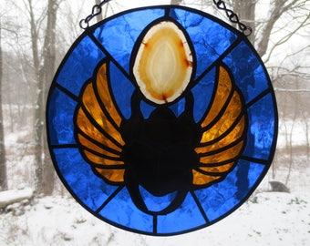 Scarab Egyptian Spiritual Stained Glass Suncatcher