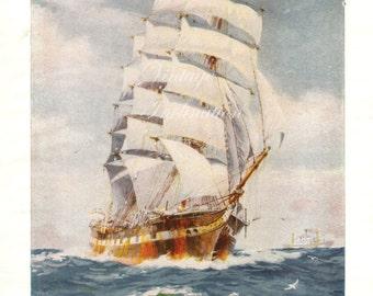 Antique Print, CLIPPER SAILING SHIP, chart 1950 beautiful wall art vintage color lithograph illustration boats ship nautical sails