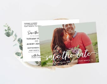 Save the Date Postcard, Printed Save the Date Photo Card, Rustic Save the Date Photo Postcards, Calligraphy Custom Save the Date Invitation