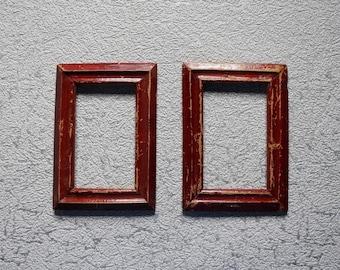 Vintage wood frames set of 2 1950s Brown photo frame Rustic wood frames Old frame Soviet wooden frame Wall decor Shabby chic decor frame set