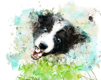 Perfect gift for dog lovers, personalised dog portrait in watercolour style