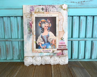 Mixed Media Marie Antoinette French Style Original Art Work Collage Canvas Board Home Office Decor