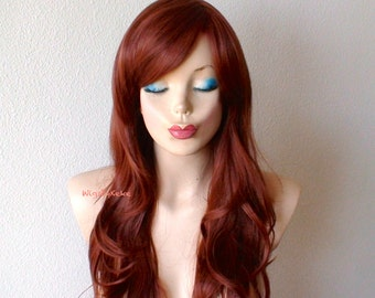 Auburn wig. Red hair wig. Long curly hairstyle wig.Durable heat friendly synthetic wig for daily use or Cosplay.