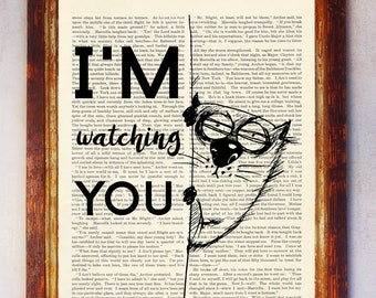 I'm watching You Quote Art Print, Dictionary Art Print, Funny Animal Wall Art, Cute Animal Art, Book Page Print, Funny Animal Poster