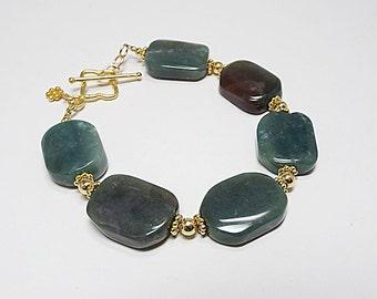 Fancy Green Jasper Bracelet (Autumn)  by Gonet Jewelry Design