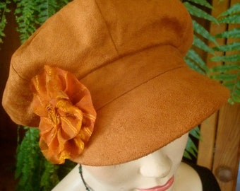 womens hat newsboy peak suede tan peak cap