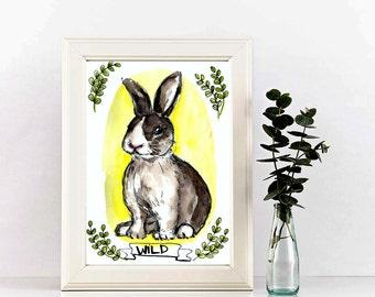 Custom pet portrait, Original watercolor A5 size, watercolor pet portrait
