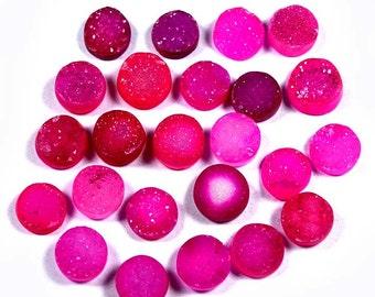 ON SALE 24 PCS, Pink Drilled Druzy,52 Ct(8-9mm)Rose Pink Druzy, Matched cabochon lot, Round Druzy, Druzy Jewelry, Pink Druzy Cabochon, Druzy