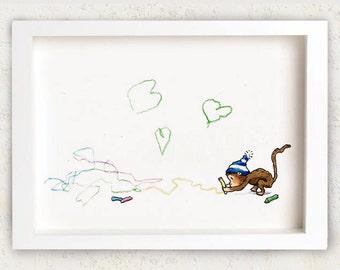 Monkey - Nursery art - Nursery decor - Kids room decor - Children's art - Children's wall art - kids wall art