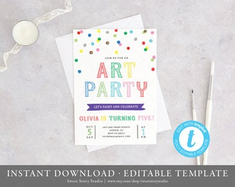 Art Party Birthday Invitation Card    Instant Download, Editable, Printable   Art Birthday Invitation, Paint Party