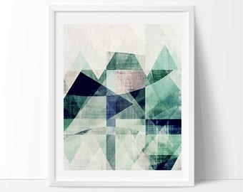 modern mid century, Geometric art, blue art, modern painting, abstract painting, modern print, contemporary print, scandinavian art, mod art
