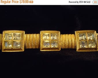 ON SALE Signed Vintage Chunky Rhinestone Bracelet 1980's Retro Glamour Girl Style Jewelry